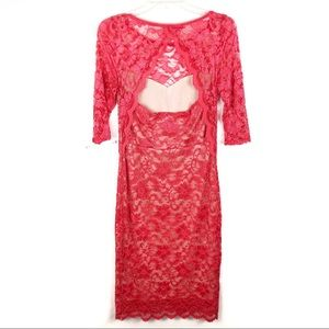 ASOS Maternity Dresses - ASOS   Coral/Red Lace Dress With Back Cut-Out